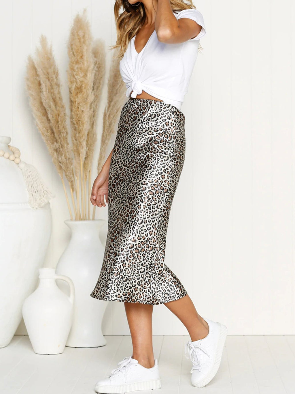 Leopard Irregular Midi Skirt - Popross