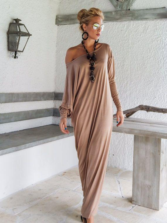 Batwing Sleeve Loose Knit Maxi Dress - Popross