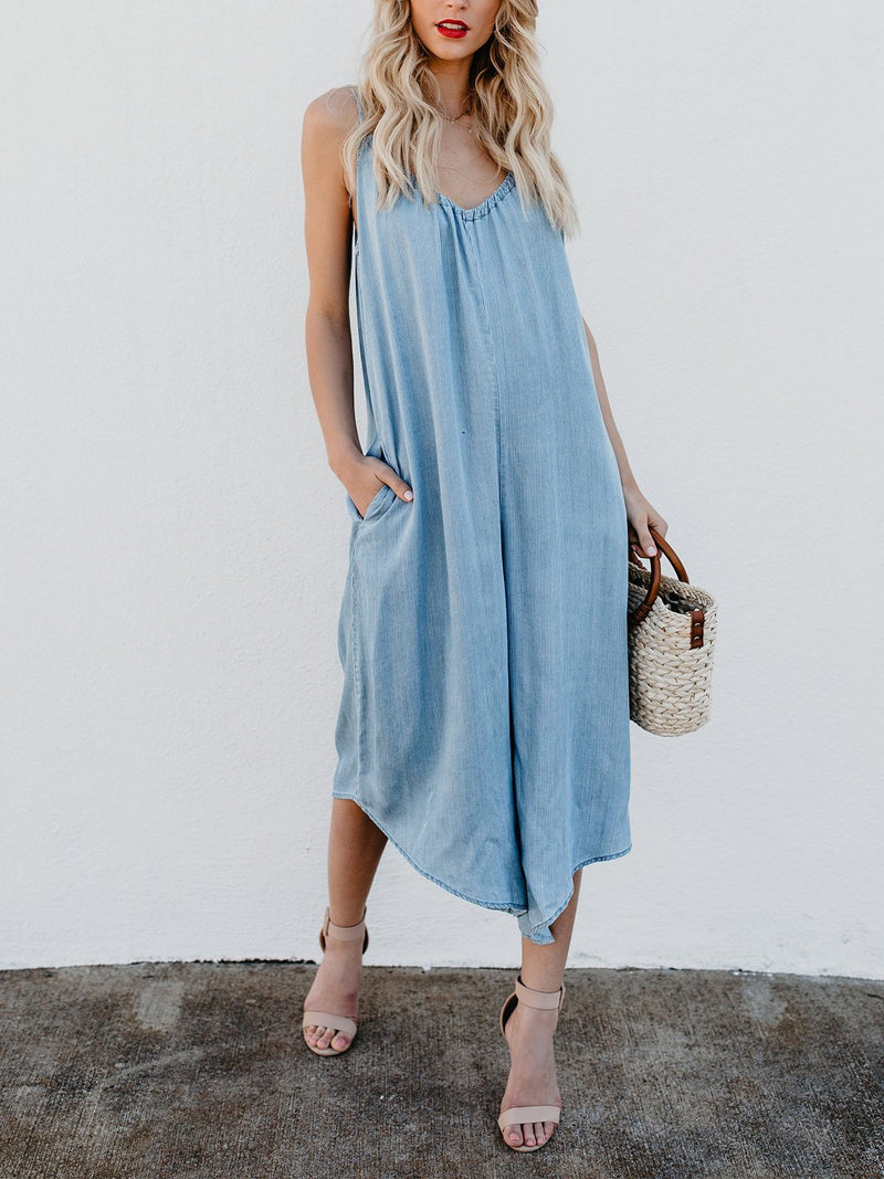 Lightblue V Neck Sleeveless Spaghetti Jumpsuits Dress - Popross