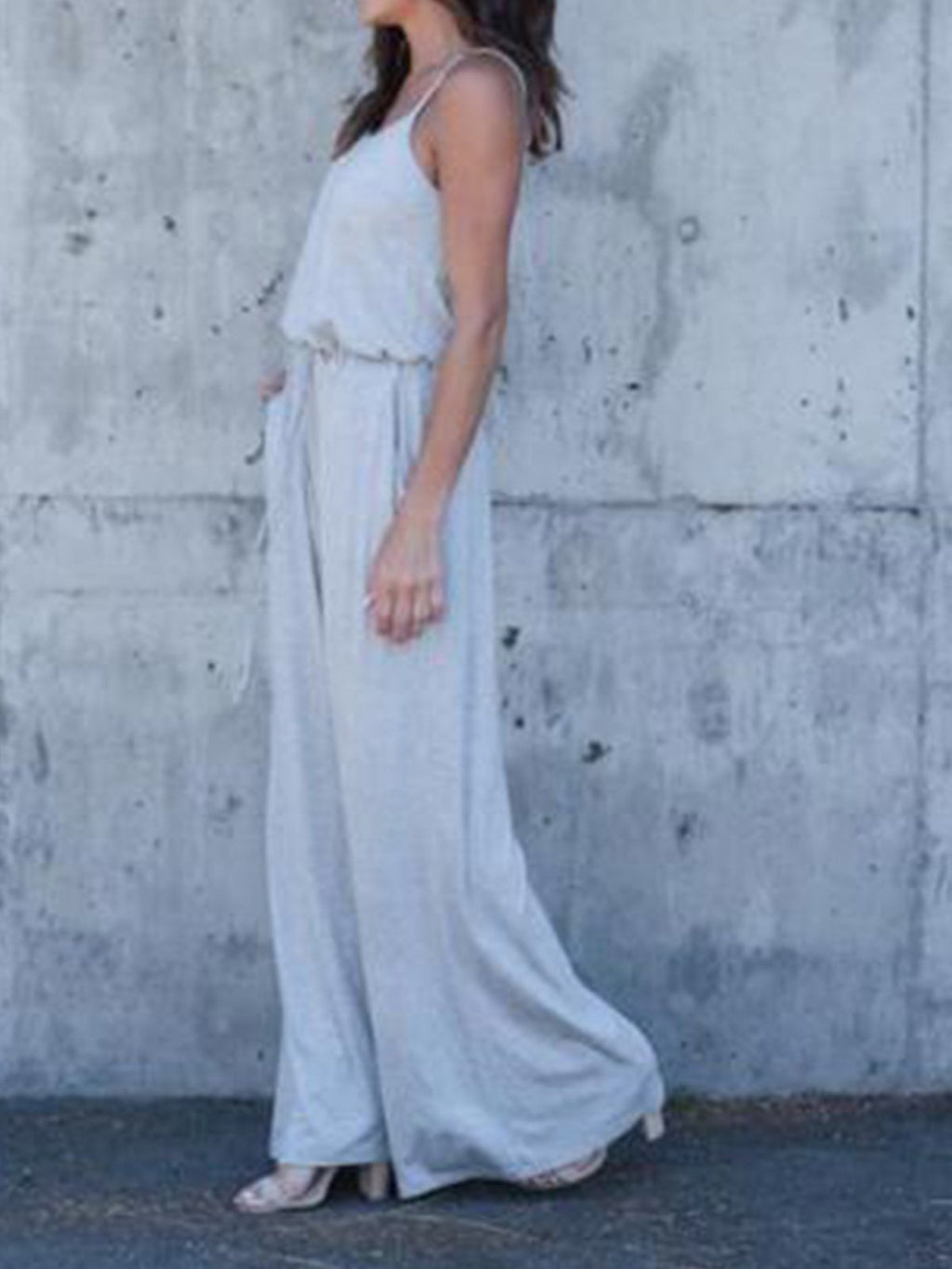 Solid Round Neck Sleeveless Backless Sexy Jumpsuit