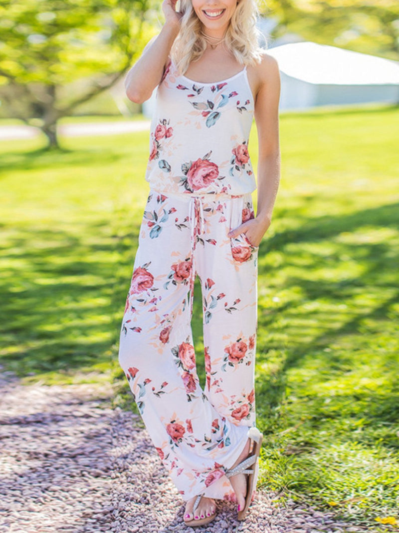 Floral Print Round Neck Plus Size Spaghetti Strap Jumpsuit - Popross