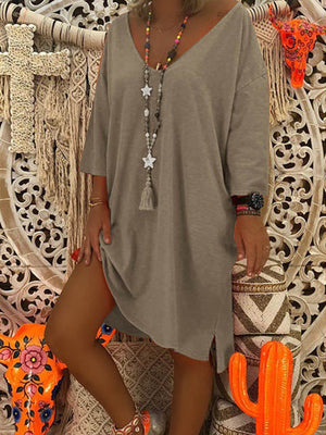 Women Fashion Plus Size Long sleeve Loose Solid Color Cotton Dress
