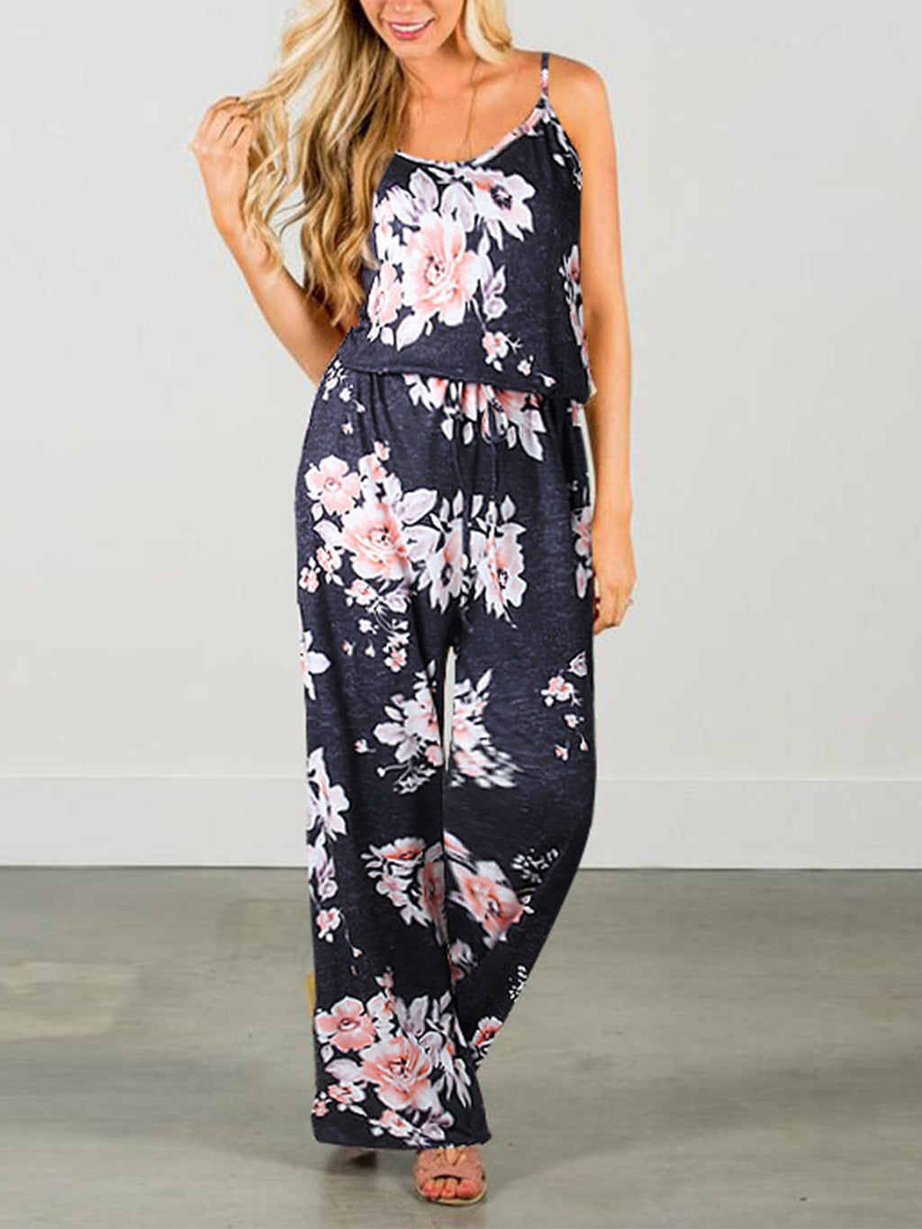Floral Round Neck Spaghetti Strap Loose  Jumpsuit - Popross