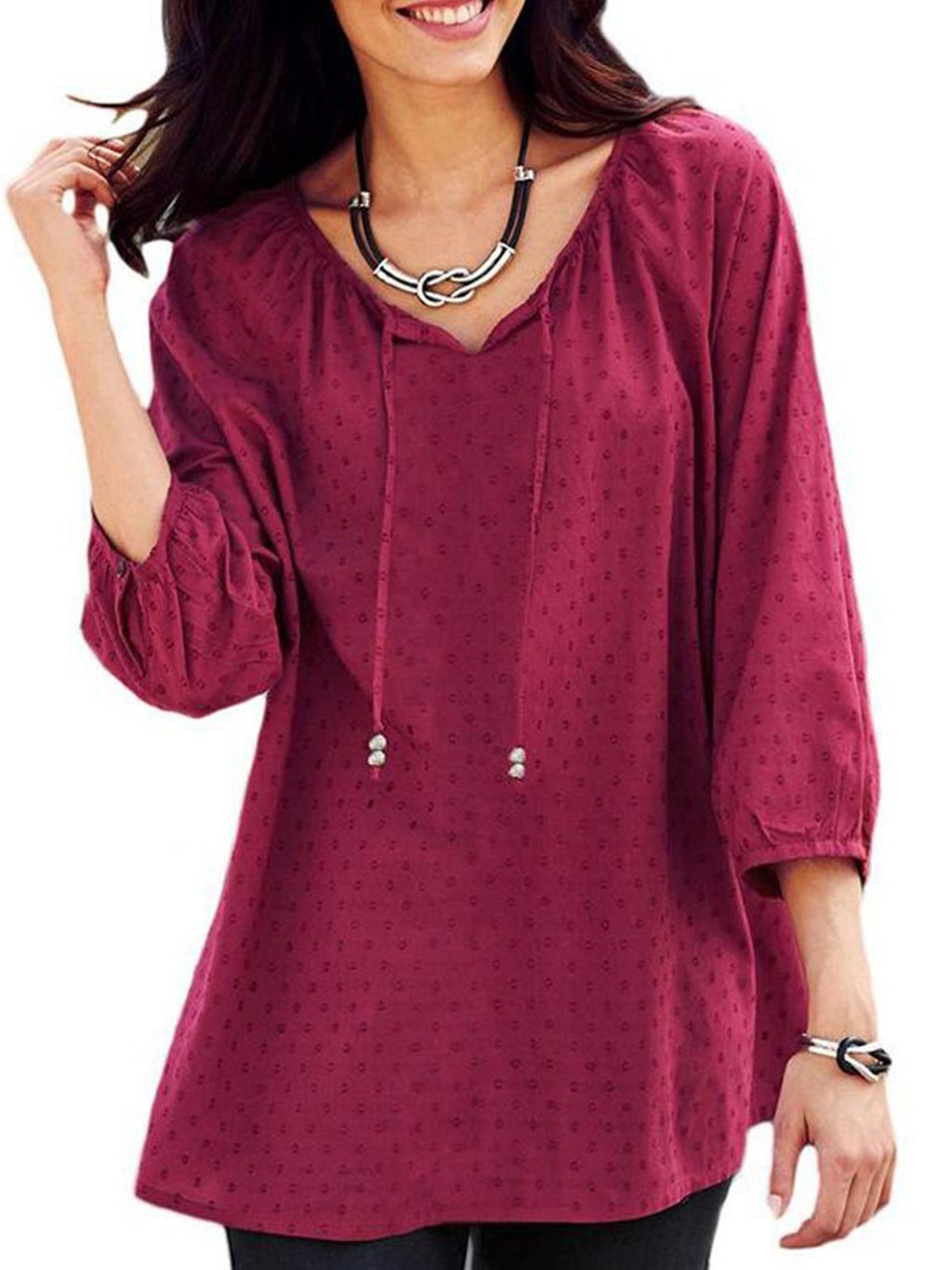 3/4 Sleeve Gathering V Neck Loose Women Blouse - Popross