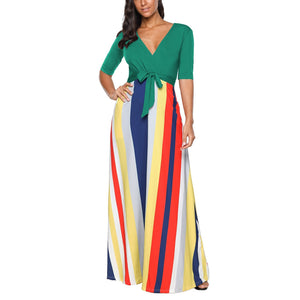 Green Color Block Striped V-Neck Half Sleeve Maxi Dress - Popross
