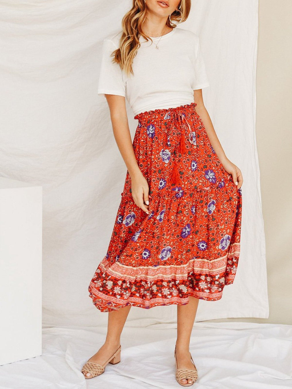Red Floral Lace-up Midi Skirt - Popross