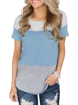Color-block Round Neck Short Sleeve T-shirt - Popross