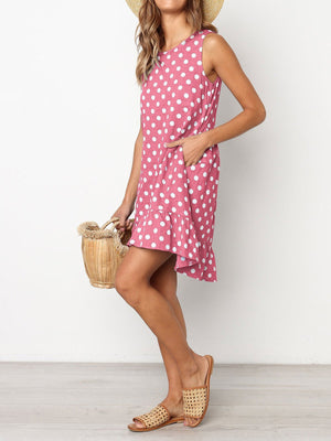 Polka Dot Flounce Round Neck Sleeveless Mini Dress - Popross