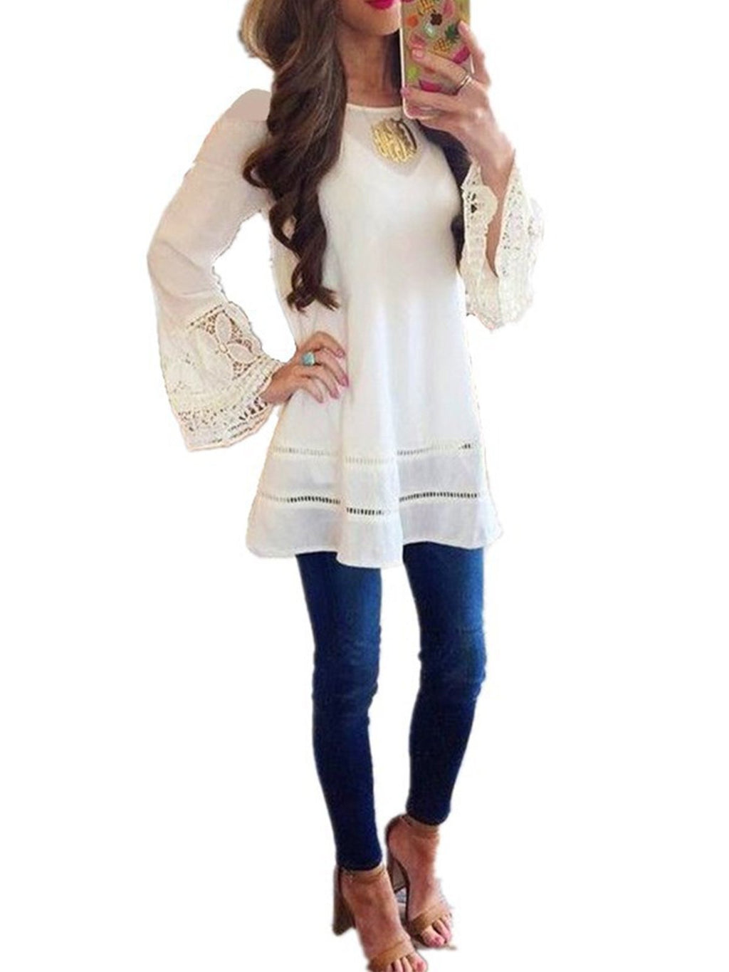 Chiffon Lace Elegant Long Sleeve Spring Top - Popross