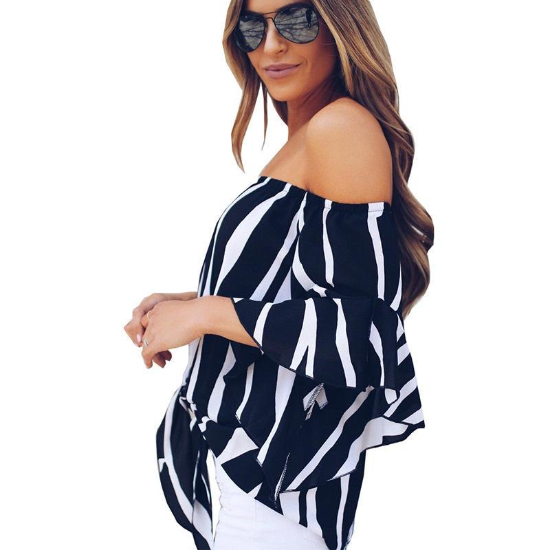 Black Striped Front Tie Knot Off the Shoulder Bell Sleeve Blouse - Popross