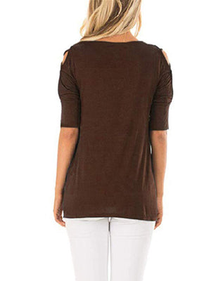 Women's Short Sleeve Cold Shoulder Cut Out Blouse Casual T Shirt Tops - Popross
