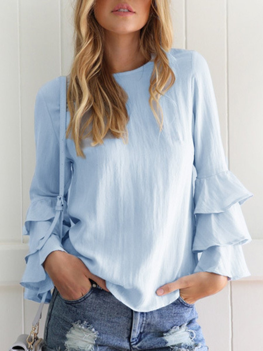 Crew Neck Solid Tiered Long Sleeve Blouse - Popross