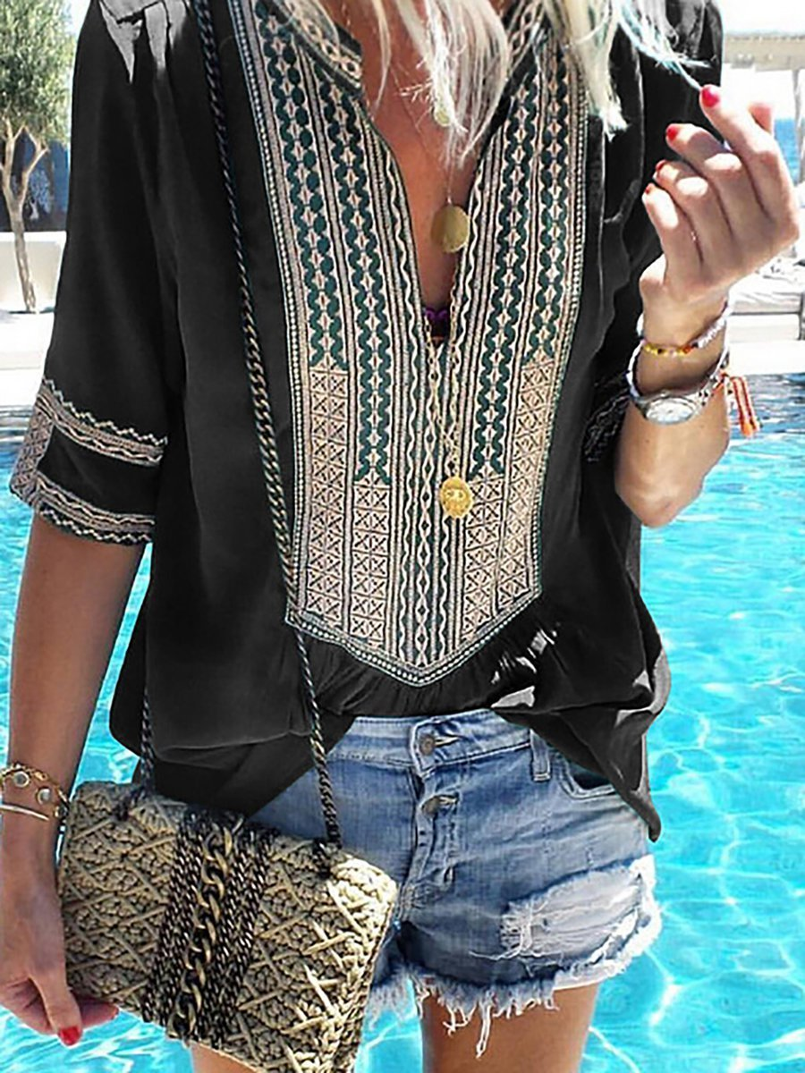 Casual Printed Short Sleeve V neck Tribal Plus Size Blouse - Popross