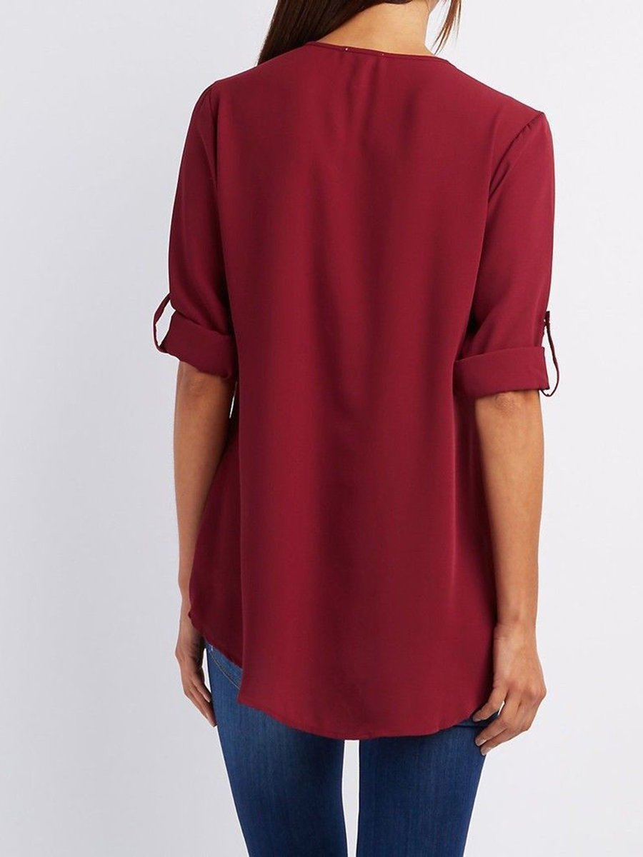 Chiffon Half Sleeve Zipper Solid V neck High Low Blouse - Popross