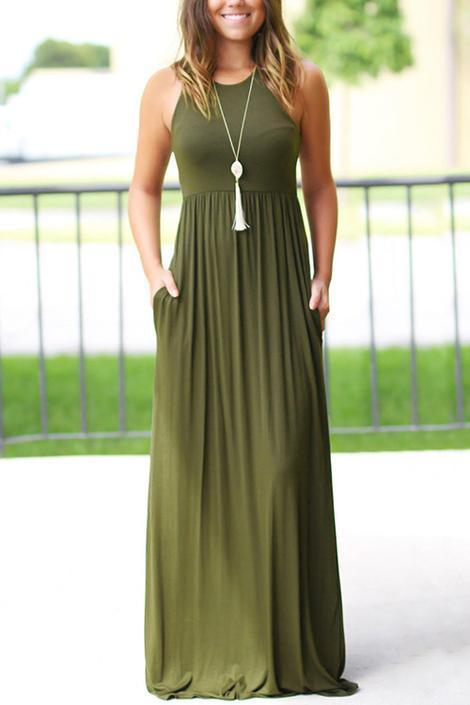 Army Green Simple Solid Color Vest Maxi Dress - Popross