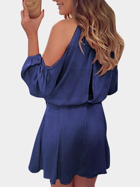 Navy Cold Shoulder Open Back Long Sleeves Chiffon Dress - Popross