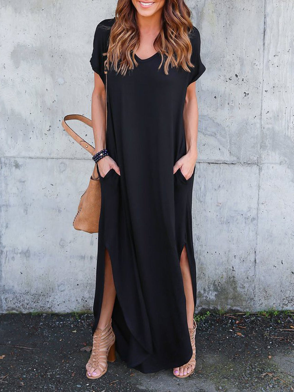 A-line Casual Solid V-Neck Maxi Dress - Popross