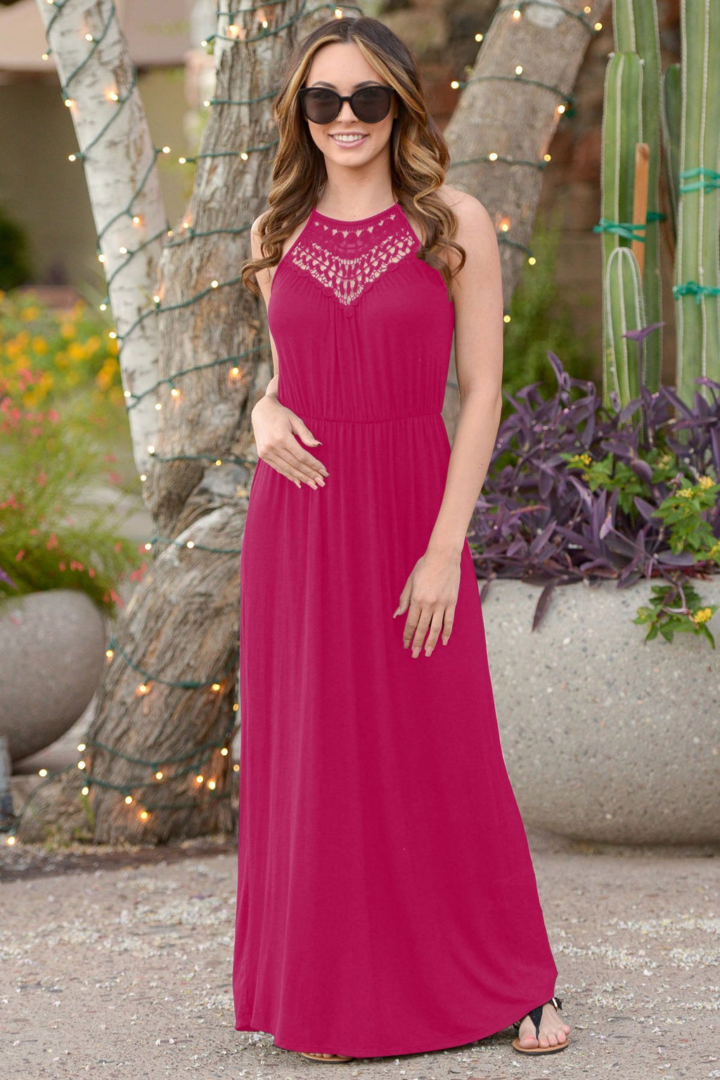 Sexy Lace Hollow Out Design Halted Spaghetti Maxi Dress
