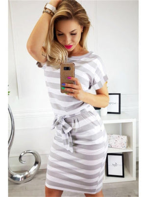 Wide Stripe Print Loose Top Fit Bottom Midi Dress