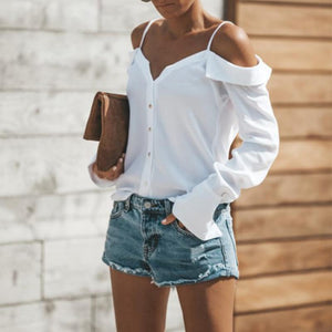 Sexy Off Shoulder Pure Color Long Sleeve Chiffon Strap Shirt - Popross