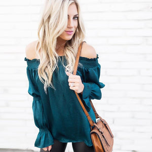Sexy Blackish Green Off Shoulder Blouse - Popross
