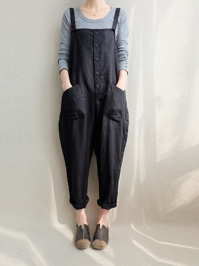 Solid Spaghetti Loose Jumpsuit