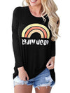 Rainbow Print Long Sleeve Round Neck Fit T-shirt - Popross