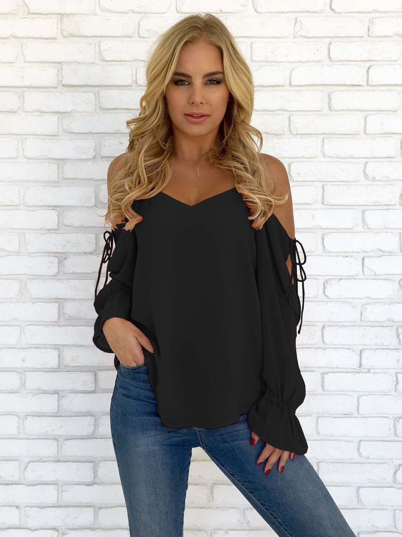 Sexy String Cross Sleeve Top Ruffle Sleeve Solid Blouse - Popross