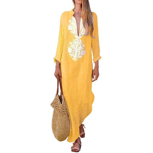 Long Sleeve Cotton/Line Casual V-Neck Yellow Maxi Dresses - Popross