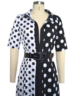 Sexy Polka Dot Contrast Slip Front Swing Maxi Dress