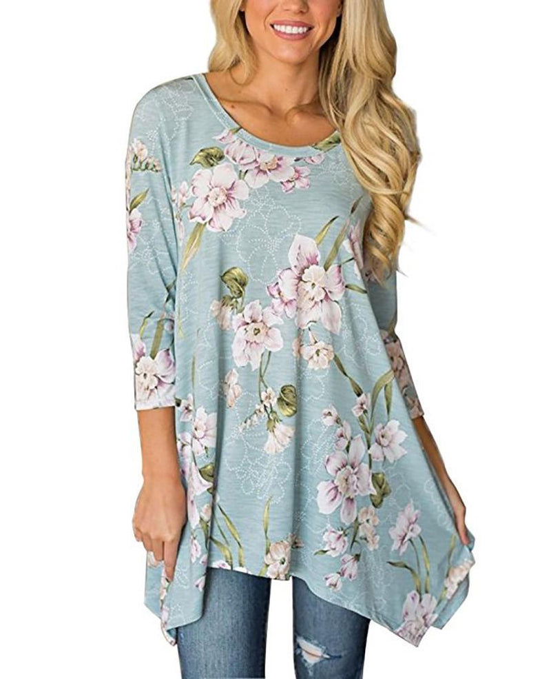 Floral Print Round Collar 3/4 Sleeve Irregular Hem Basic Blouse - Popross