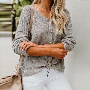 Solid Button Placket Loose Sweater Knit Top - Popross