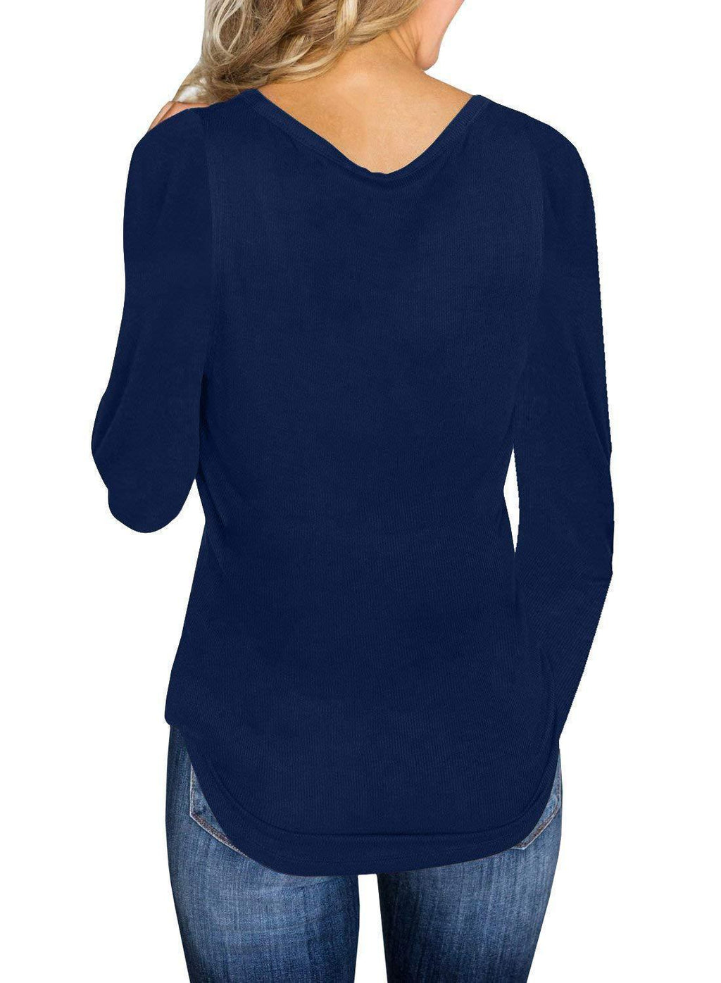 Knit V Neck Solid Long Sleeve Sexy Blouse Top - Popross