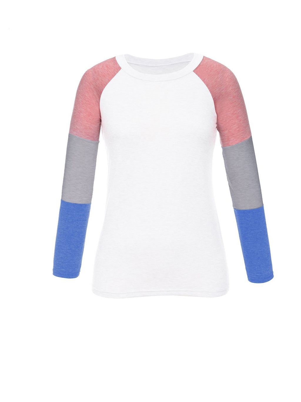 Color Block Round Neck Long Sleeve T-Shirt - Popross