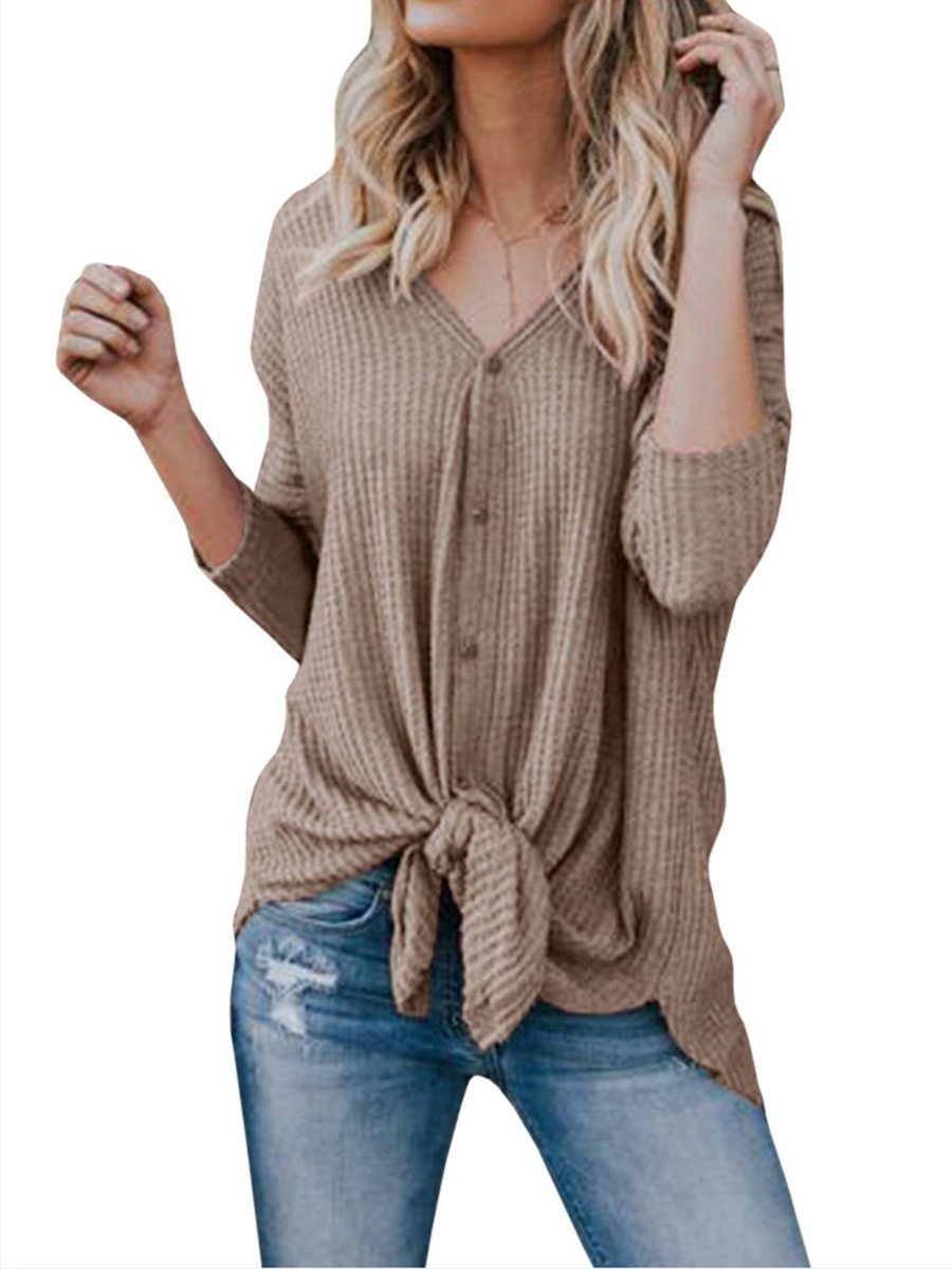 Long Sleeve Casual Buttoned Knitted V neck Cardigan - Popross
