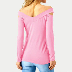 Sexy Off Shoulder Long Sleeve Hollow V Neck T-shirt - Popross