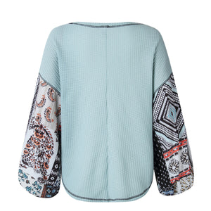 Solid Body Bohemia Style Print Bloomer Sleeve Loose Knit Shirt - Popross