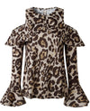 Leopard Skin Print Sexy Cold Shoulder Blouse Top - Popross