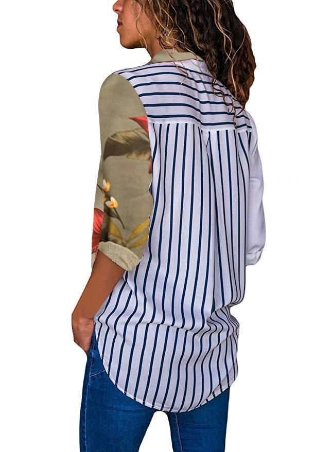Color Block Floral Print Stripe Back Shirt Collar Button Blouse - Popross