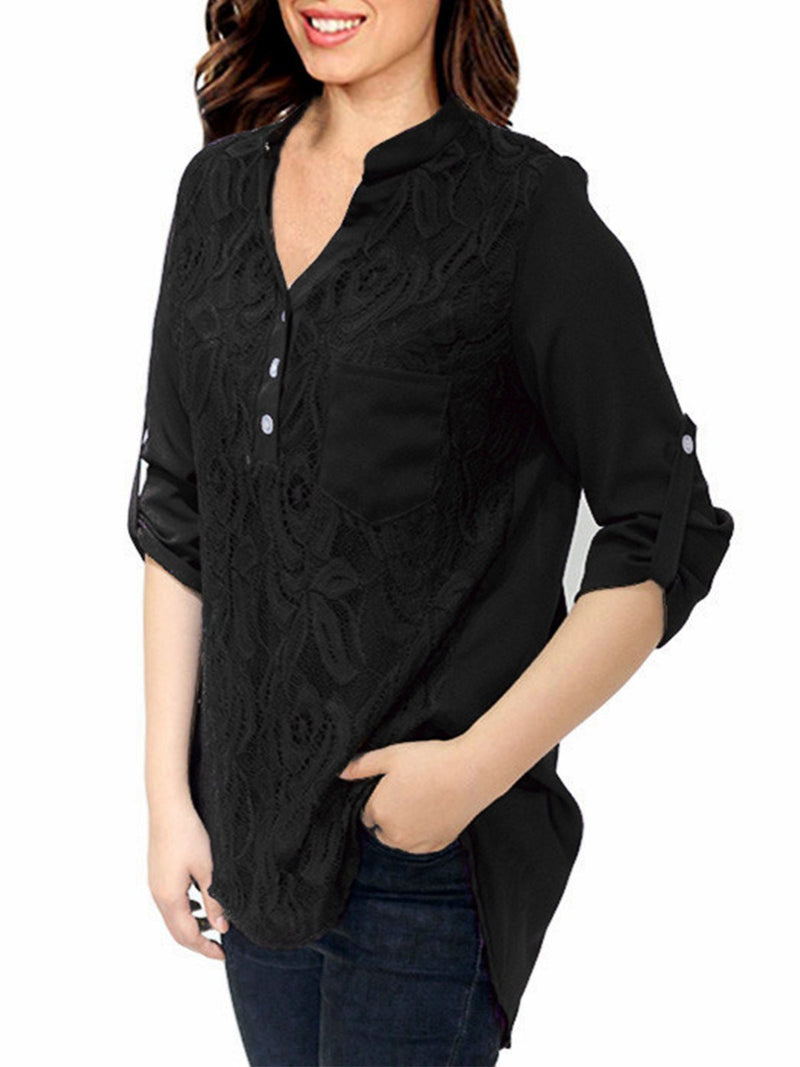 Lace Panel Roll Tab Sleeve Casual Blouse - Popross