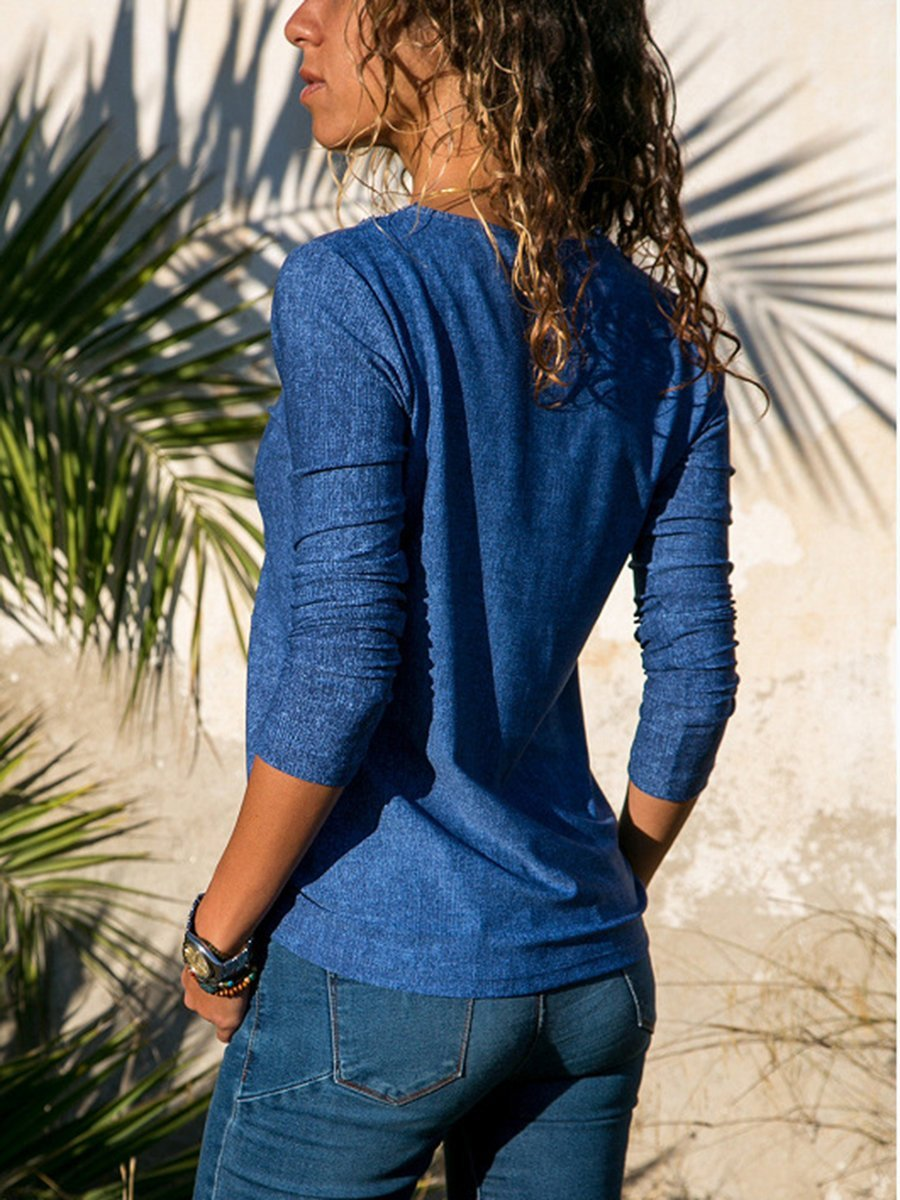 Blue Long Sleeve V Neck Solid Paneled T-Shirts - Popross