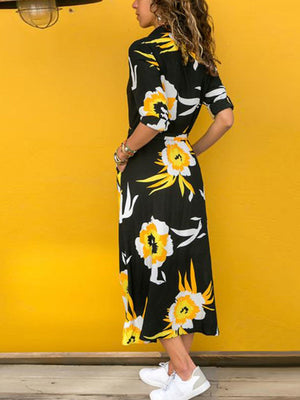 Floral Printed Pocket Lace Up Long Sleeve Dress - Popross