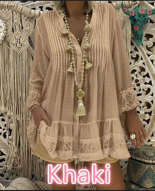 Lace Paneled Long Sleeve Loose Plus Size Blouse - Popross