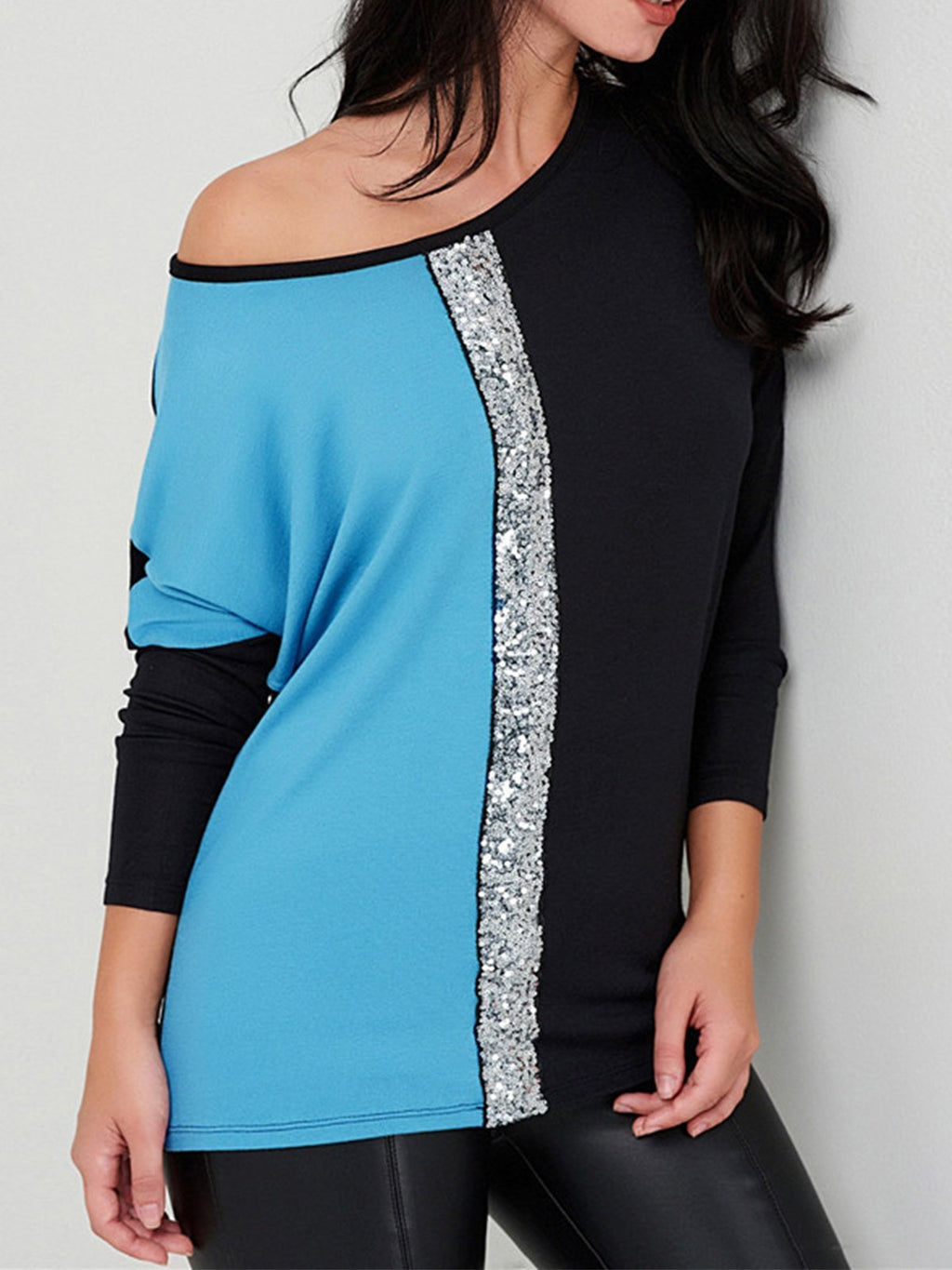 Color Block Round Neck Long Sleeve Plus Size T-Shirt - Popross