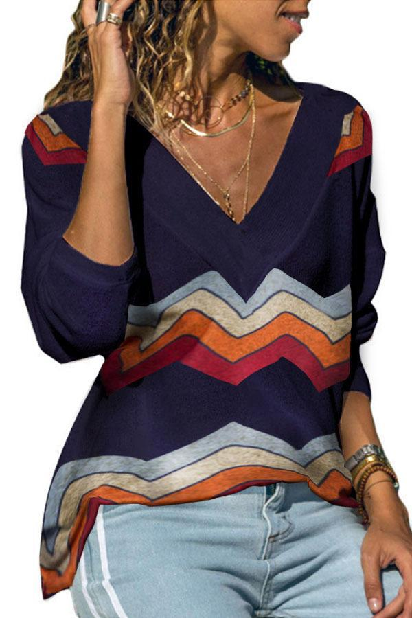 A/W Long Sleeve Rainbow Wave Striped Print V Neck Knit Blouse - Popross