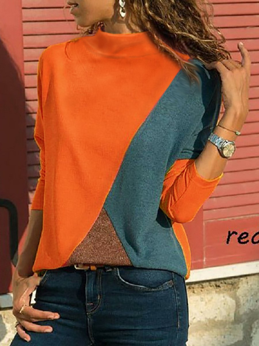 Color Block Paneled Turtle Neck Long Sleeve Casual T-shirt - Popross