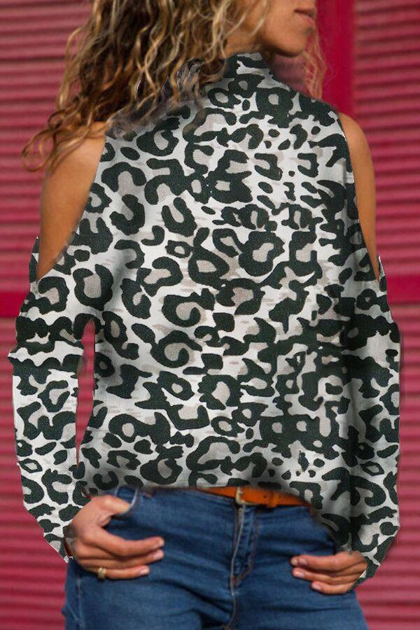 Casual Cold Shoulder Turtle Neck Long Sleeve Leopard Print Blouse - Popross