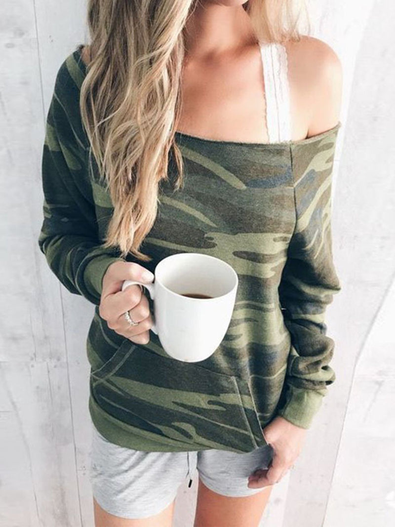 Camouflage Loose Low Round Neck Long Sleeve Sweatshirt - Popross
