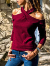 Cross Halter Neck Openback Long Sleeve T-Shirt - Popross