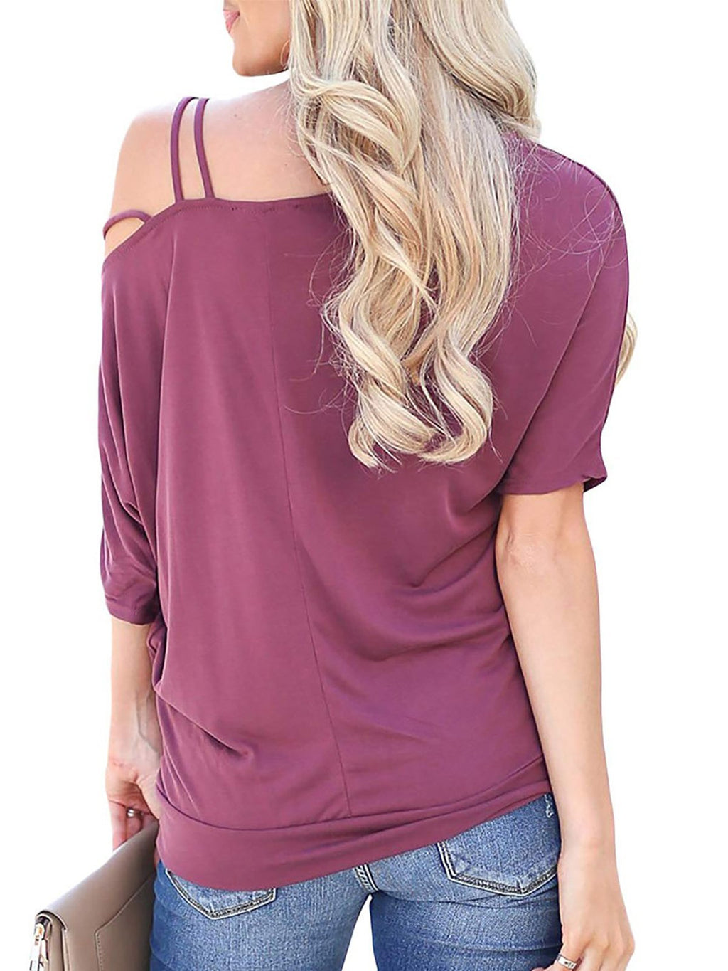 Cold Shoulder Batwing Sleeve Solid Half Sleeve Women T-Shirt - Popross